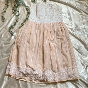H&M Strapless Pink & White Midi Dress Embroidery
